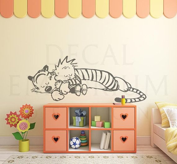 calvin and hobbes sleeping wall decal kids wall decals on watchman on the wall calvin id=86128