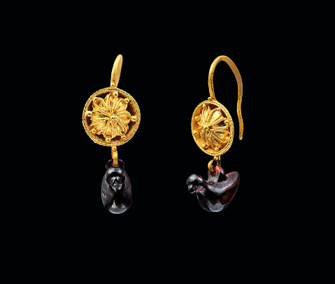 Hellenistic gold earrings with garnet shaped birds 3rd century B.C.