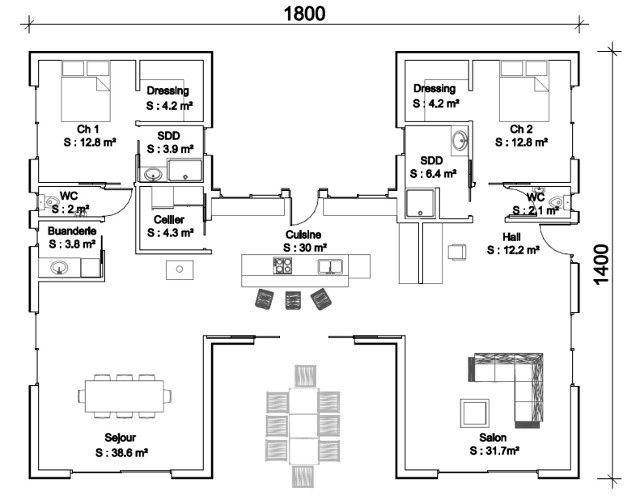 plan maison contemporaine en h