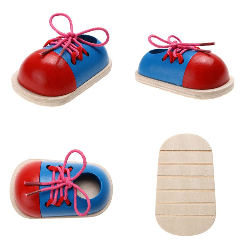 1PCS Children Wooden Lacing Shoes Toddler Kids Baby Teaching Tie Shoelaces Toys