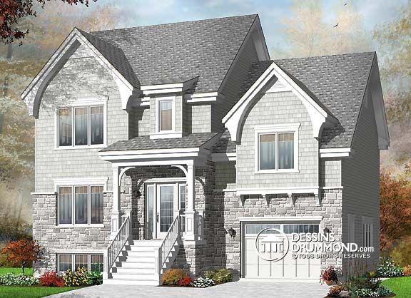 Plan de Maison unifamiliale W3463, champêtre, country, house style