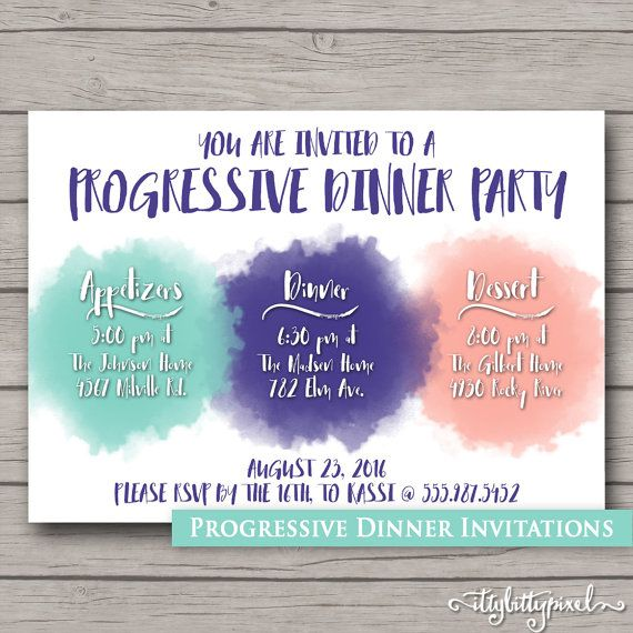 Progressive Dinner Party Invitation By Ittybittypixel On Etsy