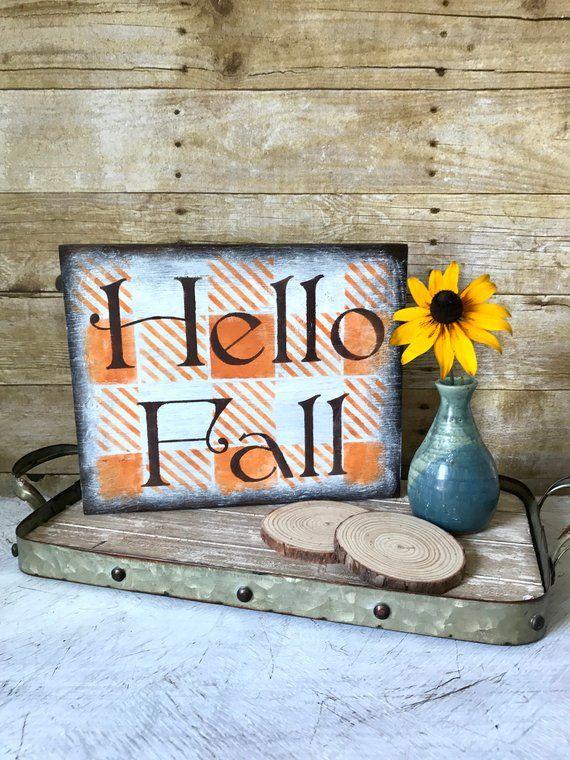 Hello Fall Sign | Fall Decorations | Buffalo Plaid - Check | Harvest Decor | Autumn Wood Sign | Rustic Farmhouse | Orange | #hellofall