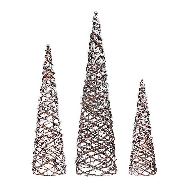 Pre-Lit Flocked Cone Tree, Set of 3 HSSL Holiday Inspiration