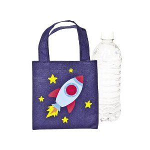 Polyester Spaceship Totes (1 dz) by Fun Express. $6.49. Totes Measure 6 Inches x 6 Inches.. Non-woven Polyester.. Handles Measure 4 Inches.. 1 Dozen Polyester Spaceship Totes.. Kids will be ready for a fun space adventure with these Polyester Spaceship Totes. Each tote features a fun rocket ship design.