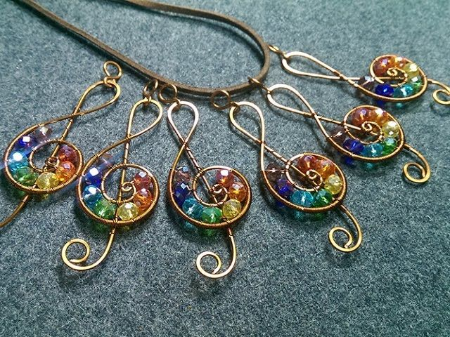 Treble clef pendant with stones rainbow colors - Wire Wrapping Ideas 163 #trebleclef