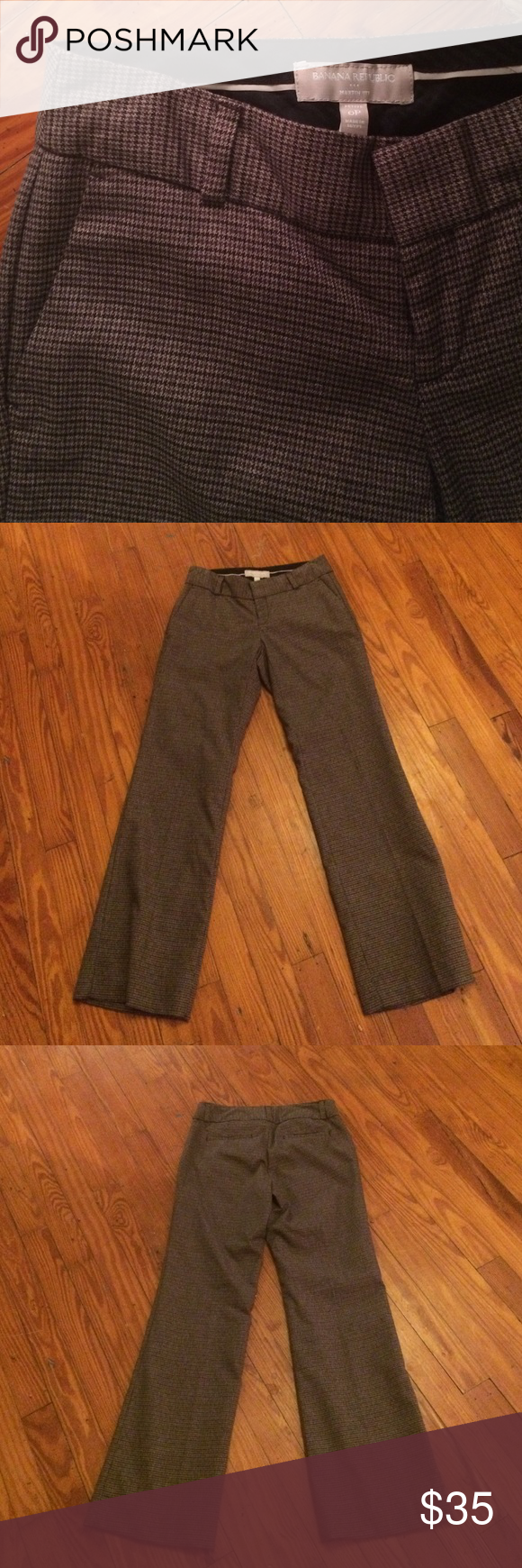 Banana Republic Dress Pants Brown Houndstooth dress pants. Worn once. Martin Fit. Banana Republic Pants Trousers