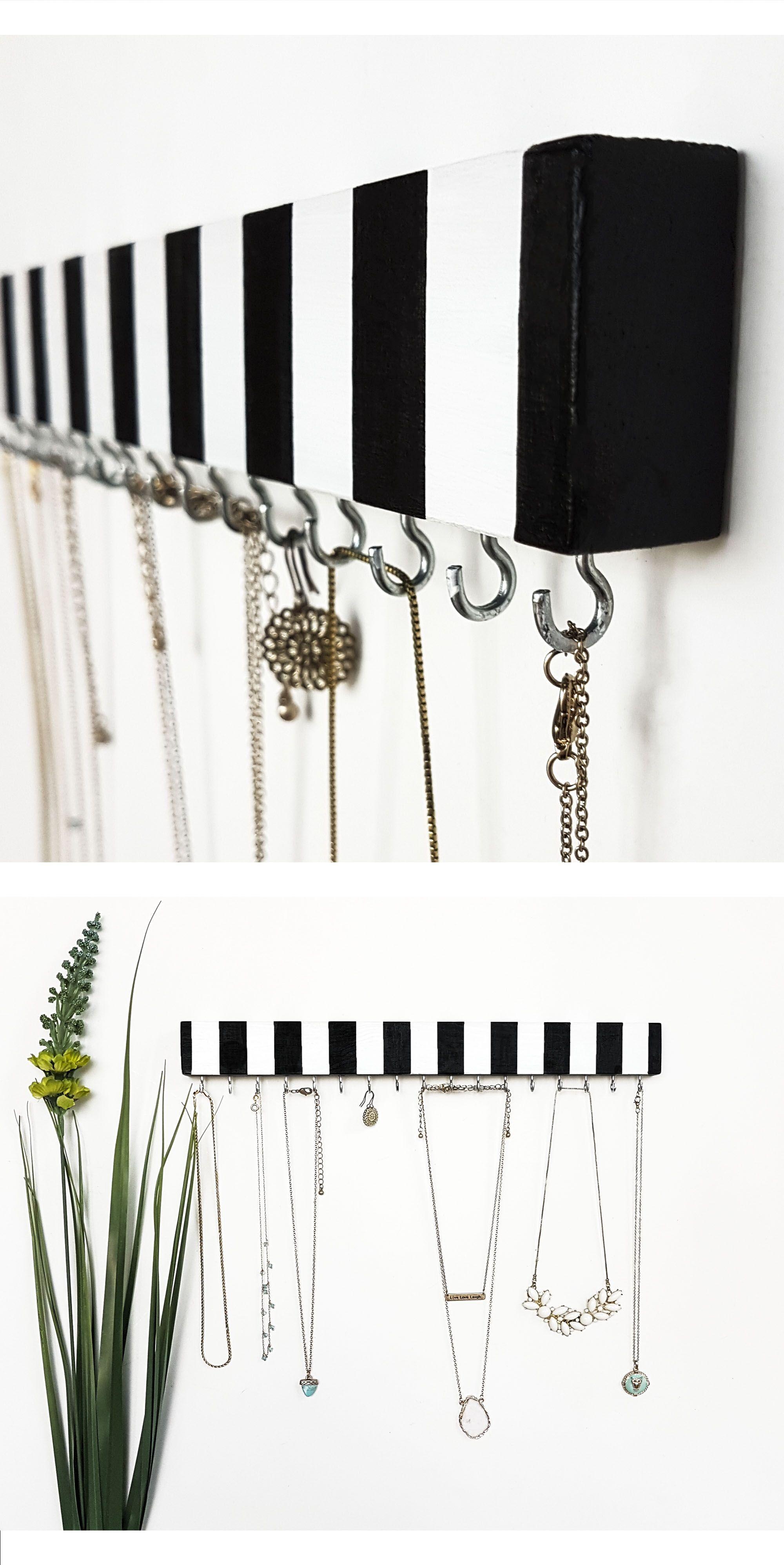 Necklace Holder Organizer Black And White Design Handmade Item Made Of Wood Acrylic Diy Display Jewelry Storage Hanger