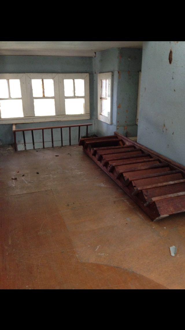 Upstairs hall prior to restoration
