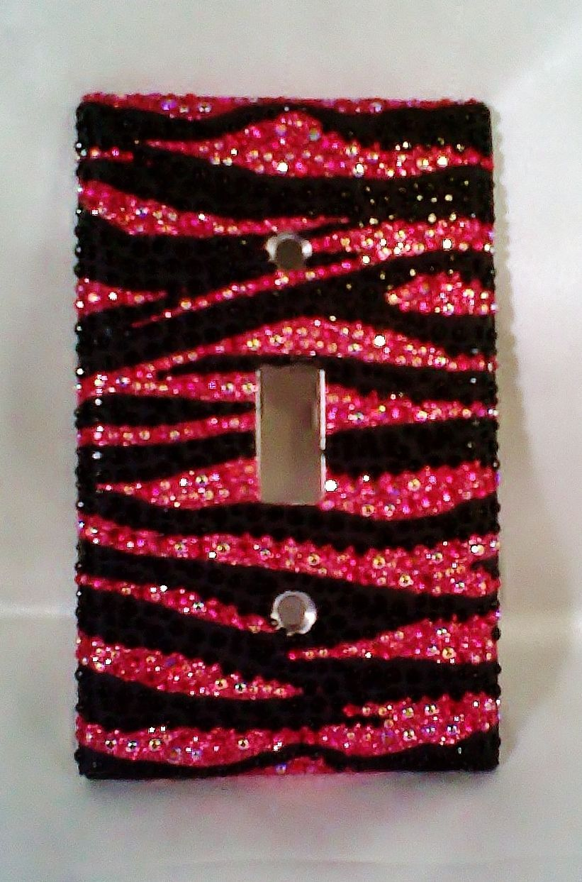 bling hot pink glitter black zebra design light switch cover w