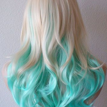 medium length blonde hair with blue tips  google search