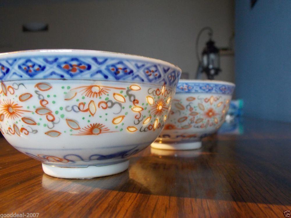 628 Antique Chinese Porcelain Rice Grain Pattern Bowl Set Of Two White Blue Pattern Bowl Porcelain Chinese Antiques
