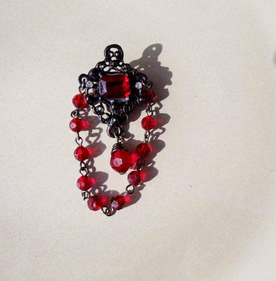 Vintage Goth Black Ruby Brooch by PaganCellarJewelry on Etsy, $11.99