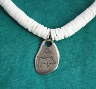 Wild Boar Cave Drawing in Fine  Pewter on Shell Necklace