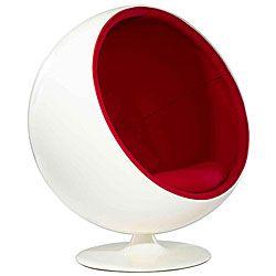 Fiberglass White and Red Ball Chair