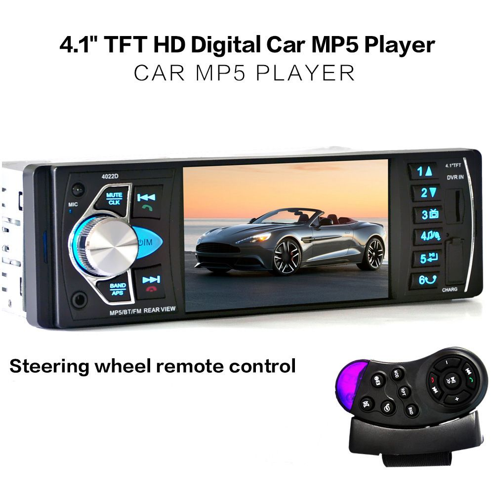 Single DIN Car Stereo 4.1 Inch Touch Screen Multimedia Car Stereo Receiver MP5 Player with Hands Free Calls Bluetooth//Remote Control//USB//AUX Input//Mirror Link//with Rear View Camera