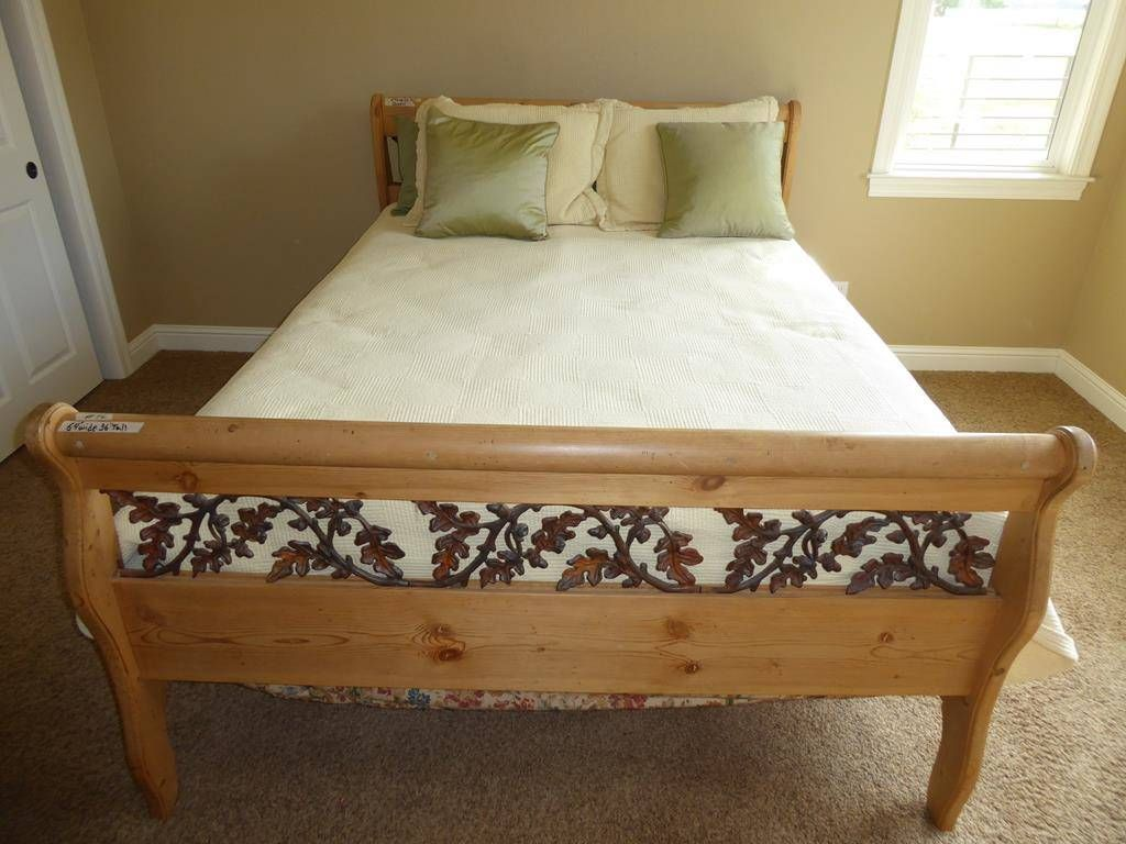 Solid Wood Queen Size Sleigh Bed Frame With Metal Oak Leaf Accents
