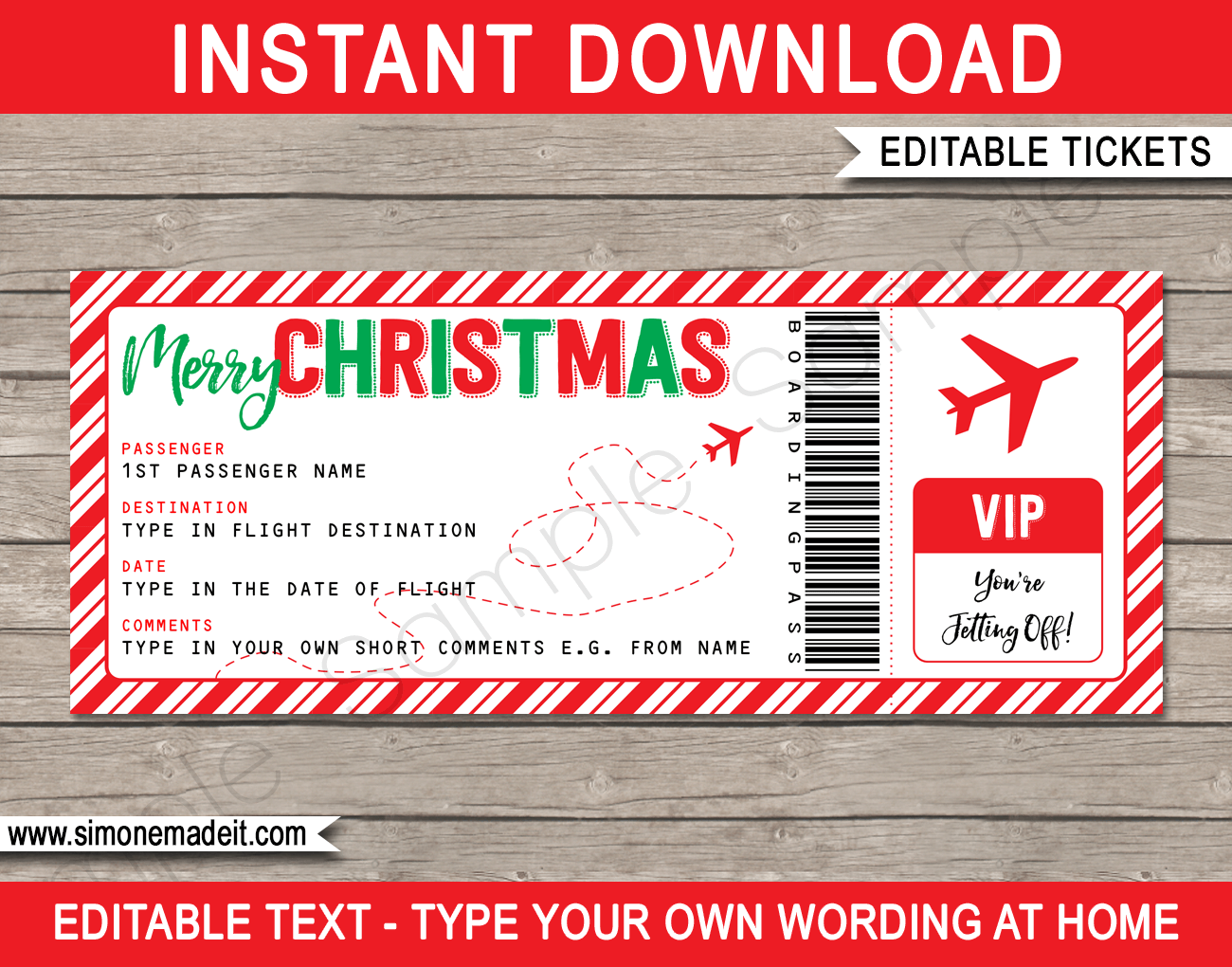 Christmas Gift Boarding Pass Ticket Template Surprise Trip Reveal Gift Certificate Template Christmas Gift Certificate Template Surprise Trip Reveal