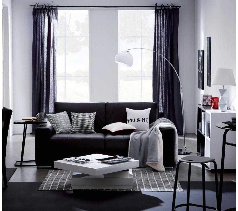 canap 3 places erika cuir massif et croute de cuir noir prix promo canap pas cher carrefour. Black Bedroom Furniture Sets. Home Design Ideas