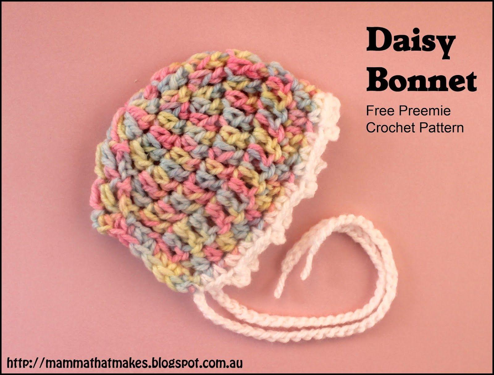 The Daisy Bonnet by Mamma That Makes. A free preemie crochet pattern ...