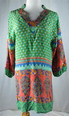 ec565e248f540 Tolani Women s Silk Blouse Tunic Shirt Boho Peach Blue Teal Size Small V  Neck