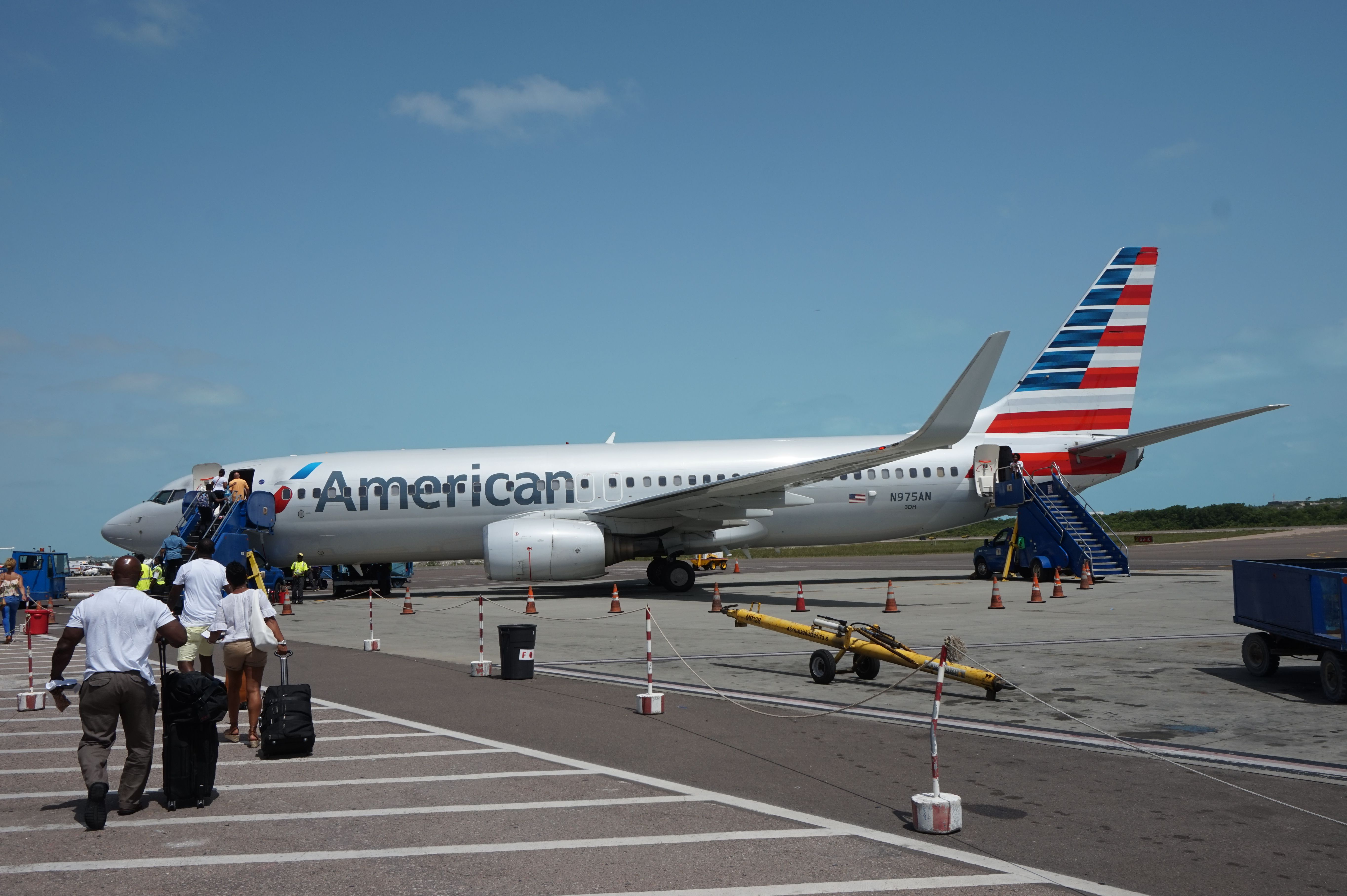 Boarding an American Airlines B737 at Providenciales