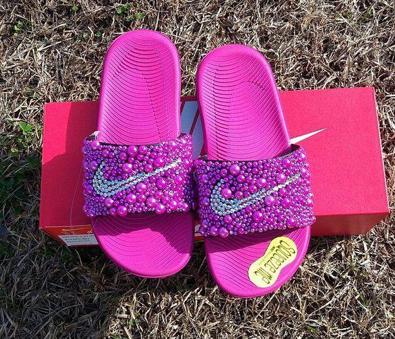 3939081e9b8a Pink Nike Bling Slides - Girls - Bedazzled - Custom slides - Youth - Big  Kids - Hot Pink - Bling Ben