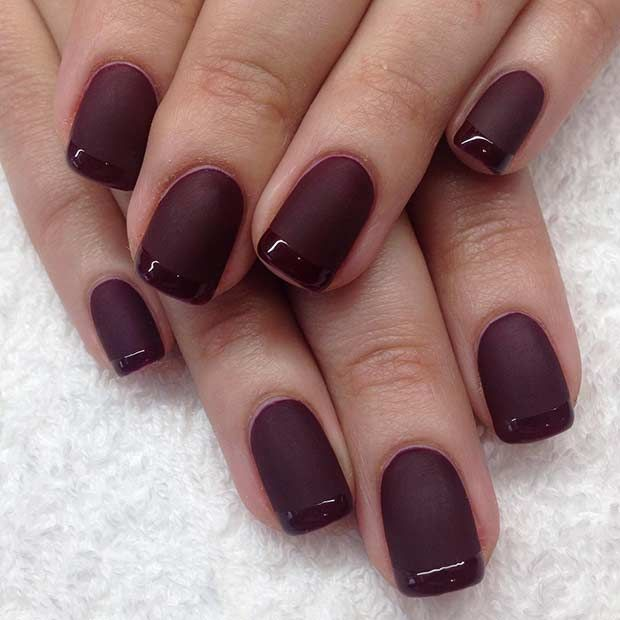 Matte and Glossy Burgundy French Tip Nail Design | nails | Pinterest ...
