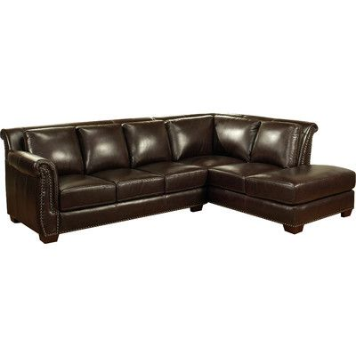 Best Abbyson Living Ellis Italian Leather Sectional Sectional 400 x 300