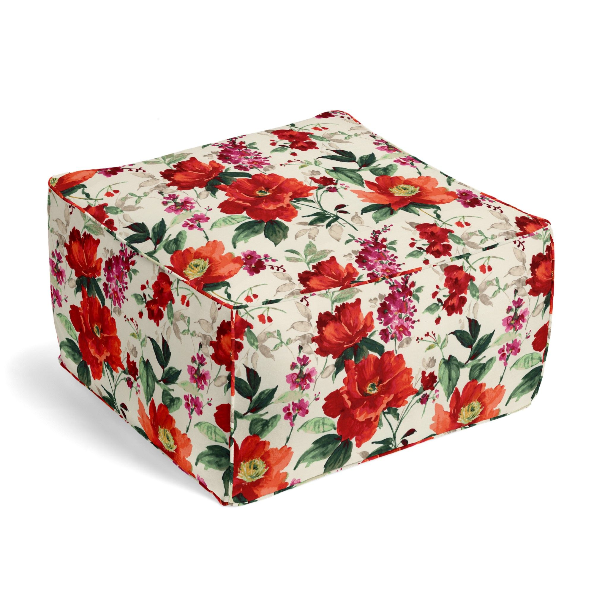 Bright Red Painterly Floral Custom Pouf | Loom Decor $220