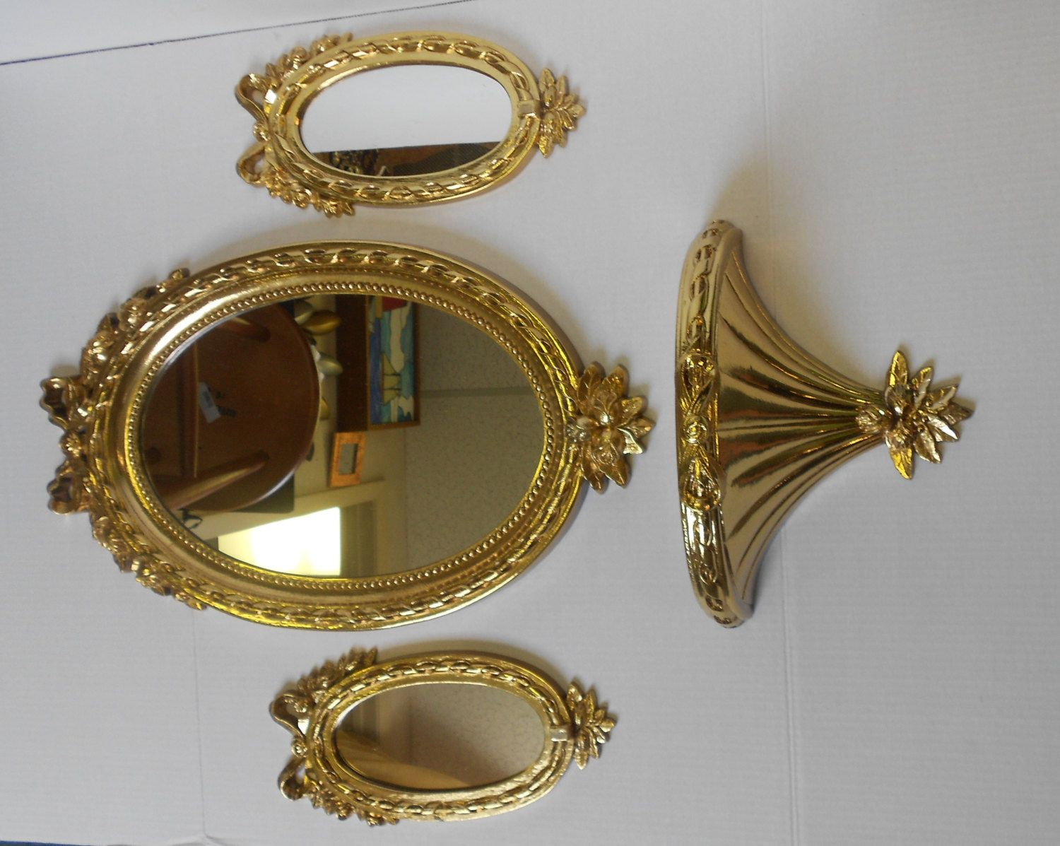set of 3 vintage oval wall mirrors and