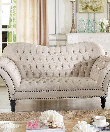 Beige Bostwick Linen Classic Victorian Love Seat Zulily