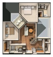 Steelhouse Orlando Floor Plan Steelsix Two Bedroom Apartments Bedroom Apartment House Styles