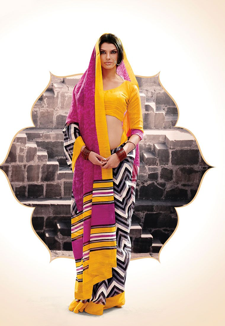 Pink & Grey Color Stripe Printed Bhagalpuri Designer Saree With Yellow Color Bhagalpuri Blouse