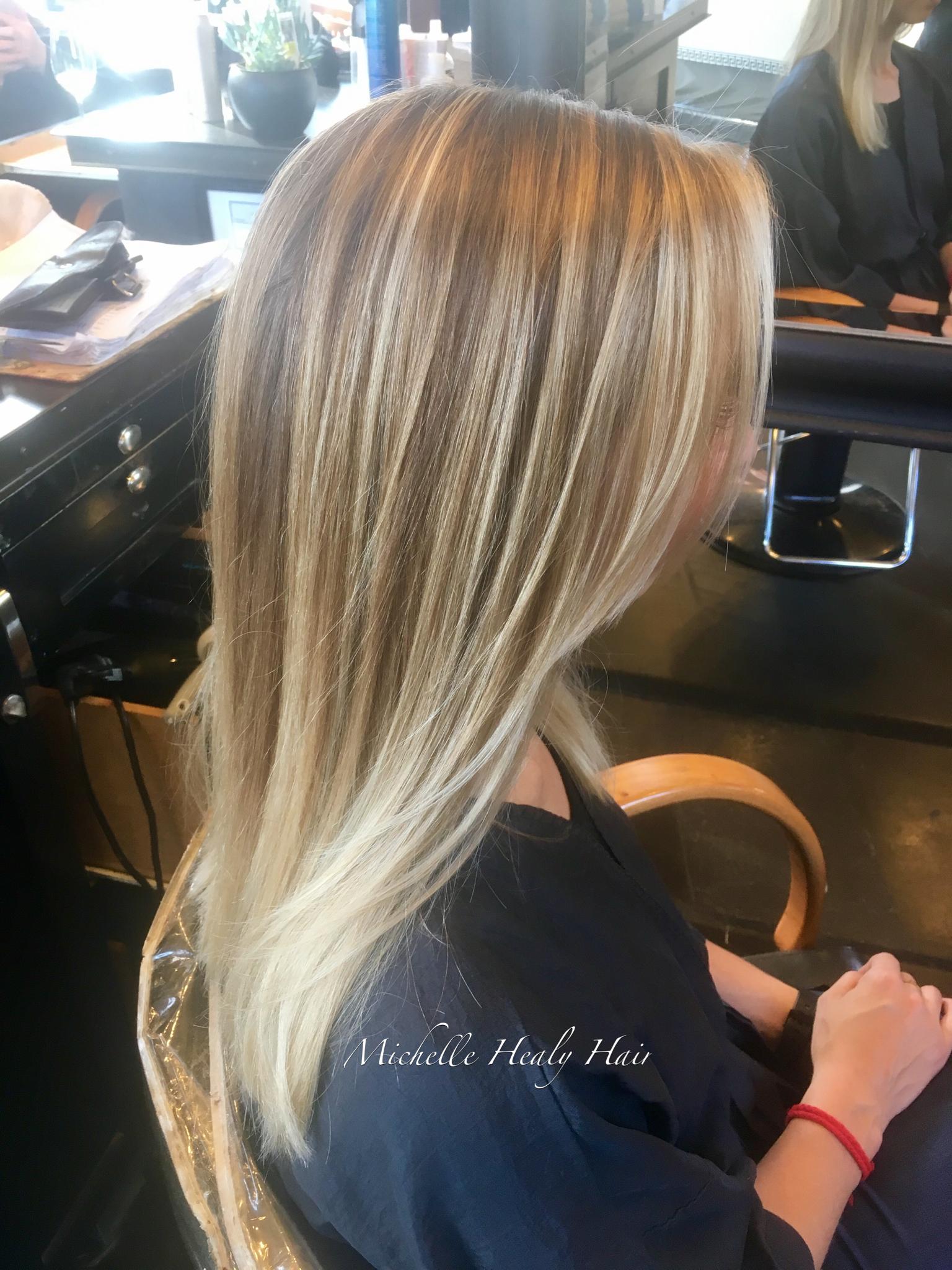 Cream Soda Blonde balayage shown on straight hair. To ...