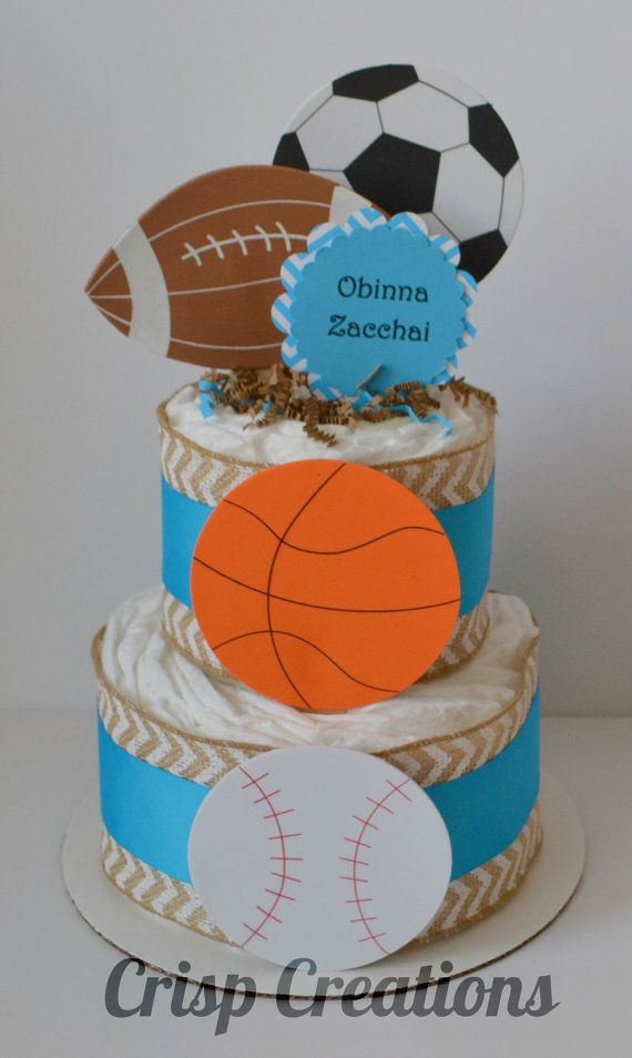 Sports themed diaper cake Football Diaper by CrispCreations1, $25.00