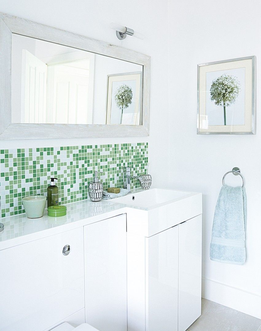 Modern White Bathroom with Basin and Green Mosaic Tiles | Bathroom ...