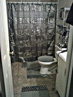 Amazon Com Popular Bath Sinatra Silver Shower Curtain With