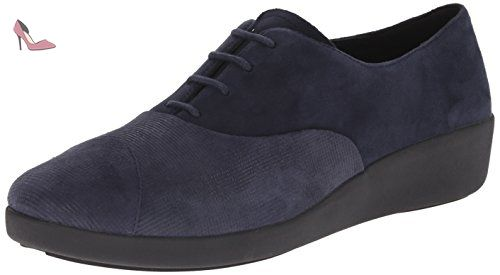 FitFlop Due TM Oxford Canvas, Chaussures de Ville à Lacets pour Femme - Bleu - Bleu, EU 38 (UK 5) EU