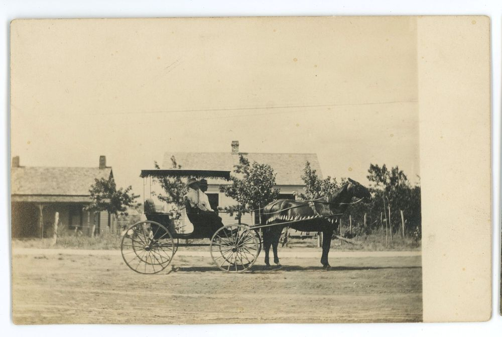 Rppc Man In A Horse Carriage Faxon Ok Ghost Town Vintage Real