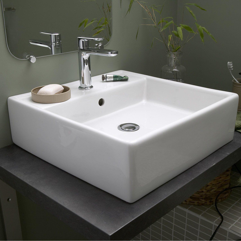 Vasque A Poser Ceramique L 46 X P 46 Cm Blanc Edge Vasque A Poser Meuble Vasque Vasque Salle De Bain
