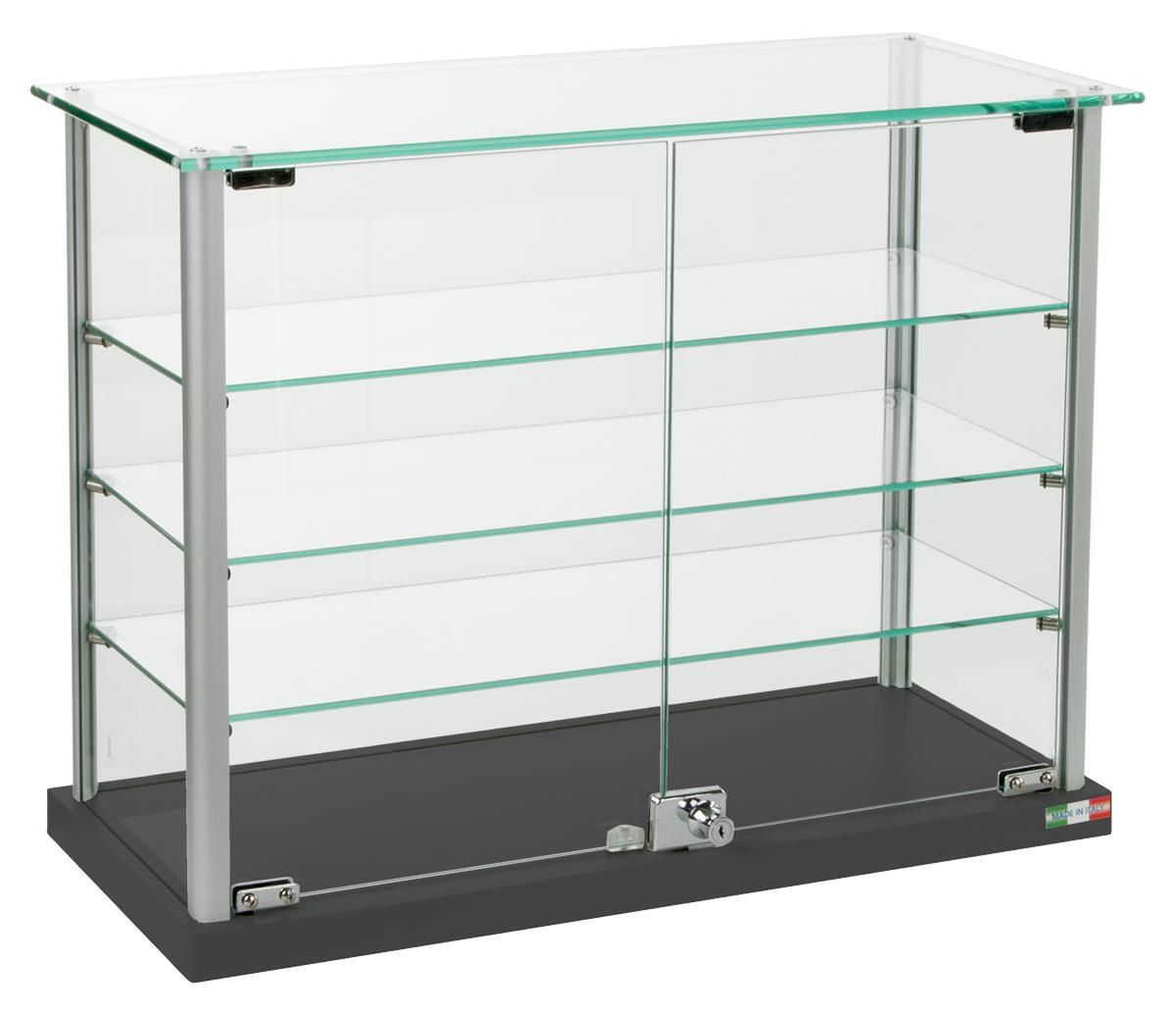Glass Showcase W Glass Canopy Top 3 Shelves 2 Locking Door