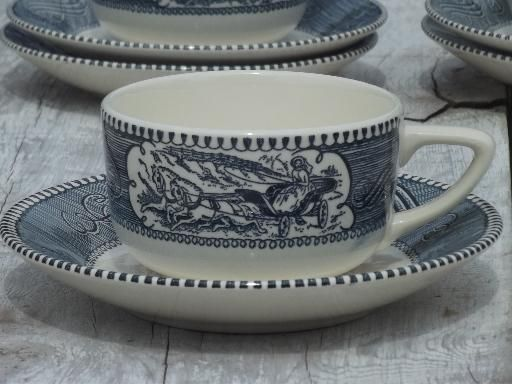 vintage blue & white Currier & Ives Royal china cups and saucers set of 6