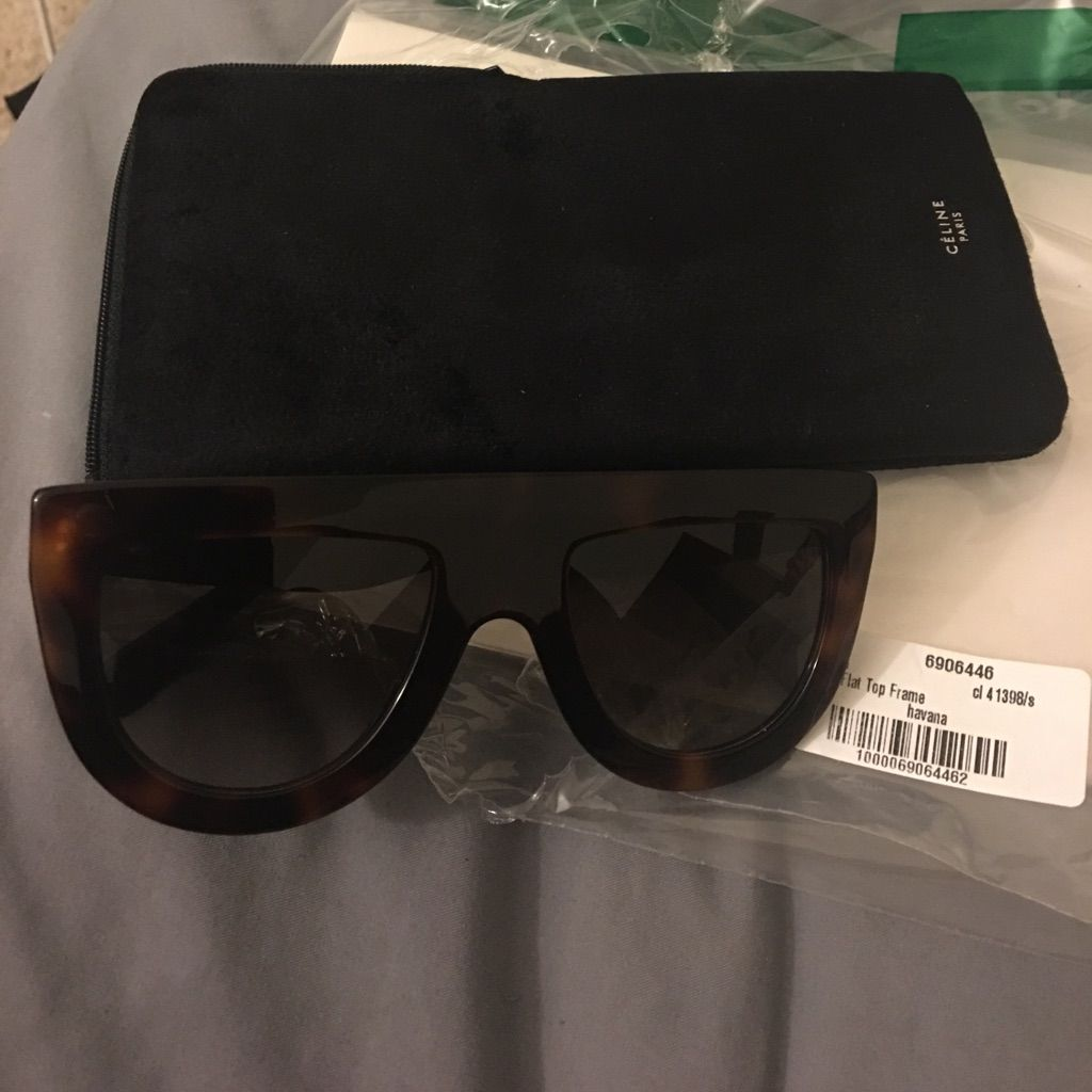 4971cb6839 Brand New Celine Andrea Flat Top Sunglasses Havana