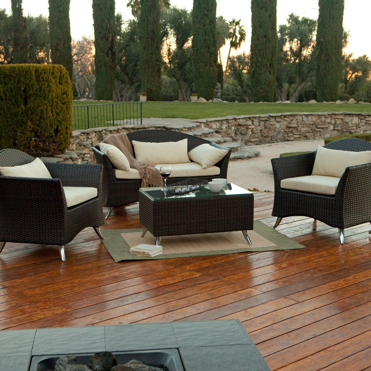 South Bay All Weather Wicker Conversation Patio Set Seats 4 Conversation Patio Sets At Patio Furniture Usa Patio Furniture Collection Patio Patio Set