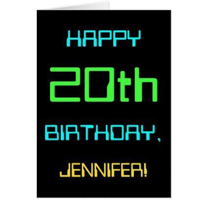 Fun Digital Computing Themed 20th Birthday Card Birthday Gifts