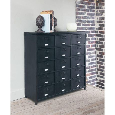 cabinet de rangement indus en m tal noir l 88 cm edison maisons du monde w i s h l i s t c. Black Bedroom Furniture Sets. Home Design Ideas