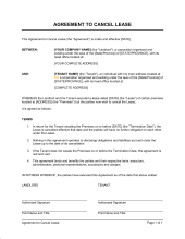 Termination Of Lease Obligation  Template  Sample Form