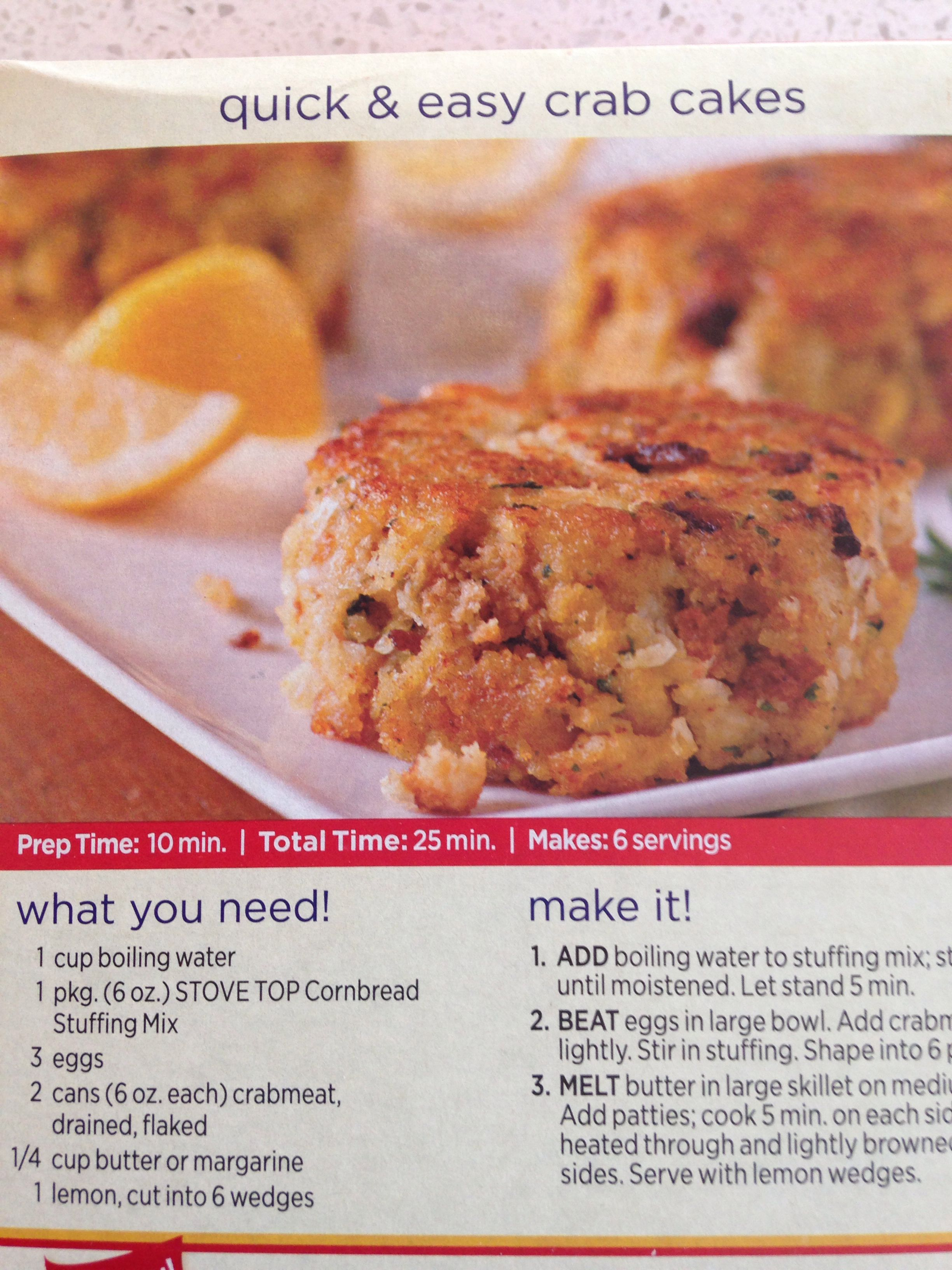Easy crab cakes with Stovetop stuffing. Mmm. | Tastes | Pinterest ...