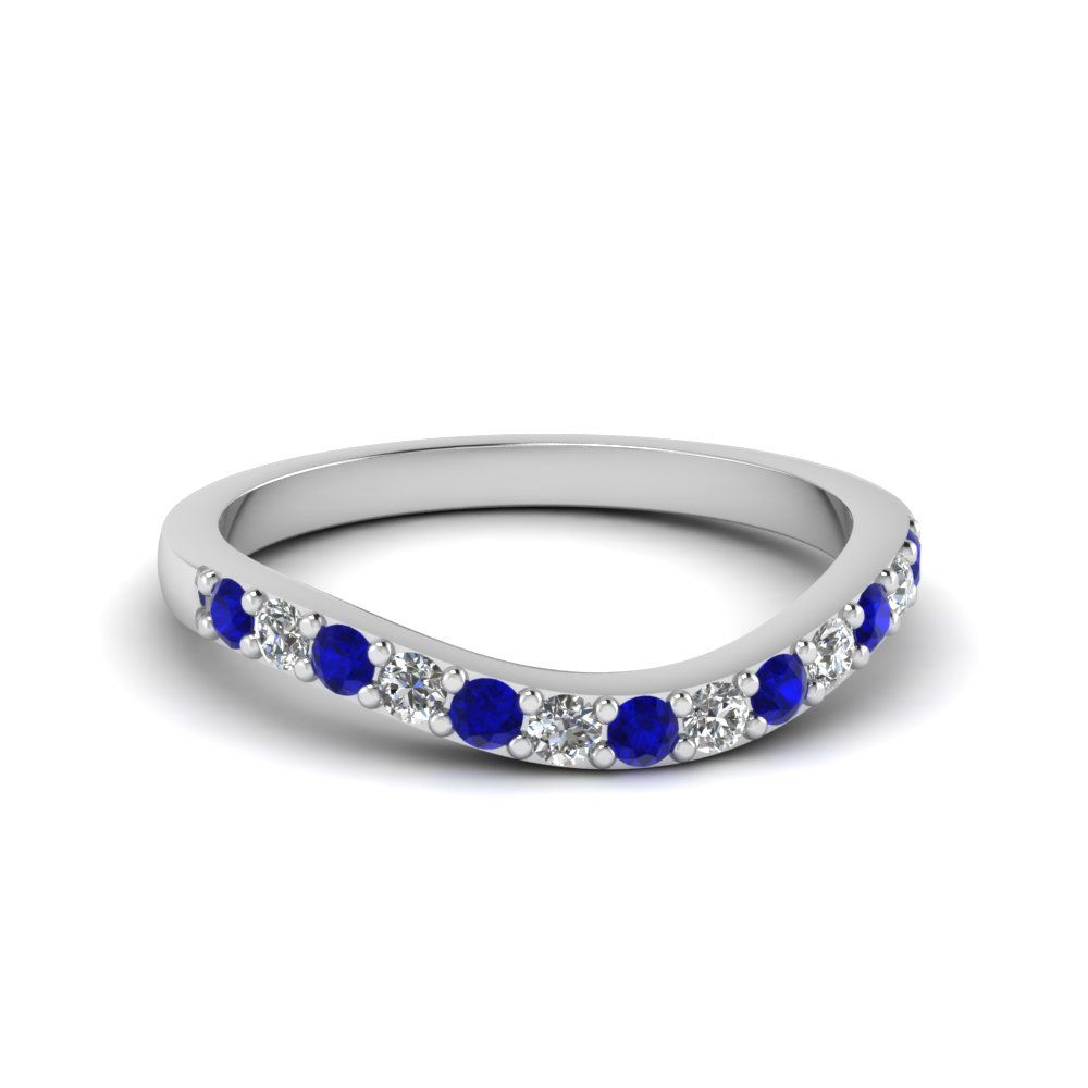 bf2f8692d curved diamond wedding ring for women with blue sapphire in 14K white gold  FDENS2255BGSABL NL WG